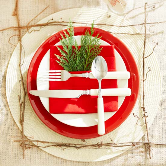 Red and White Natural Place Setting