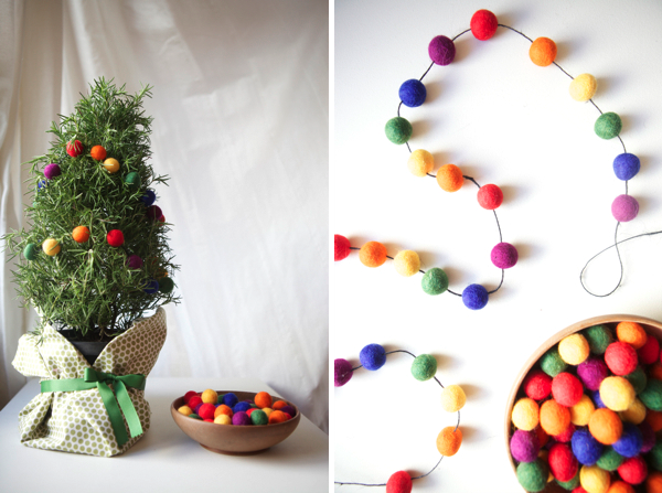 Rainbow Felt Ball Garland