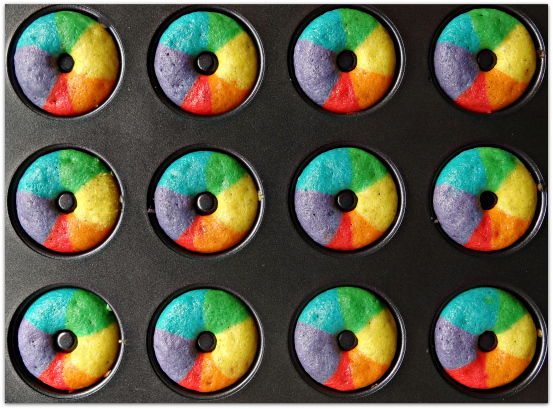 Mini Rainbow Vanilla Bean Donuts