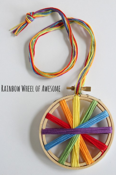 Rainbow Threaded Embroidery Hoop
