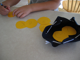 Here is a Pirate Money Bag we made to hold all the gold we have found!