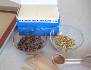 supplies for Chocolate Dipped Ice Cream Pops