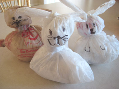 Plastic Bag Easter Bunnies