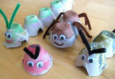Bug Friends Egg Carton Recycled Art