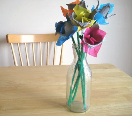 Egg Carton Recycled Tulips