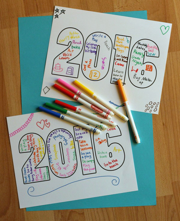 New Year Word Art Printable For Kids
