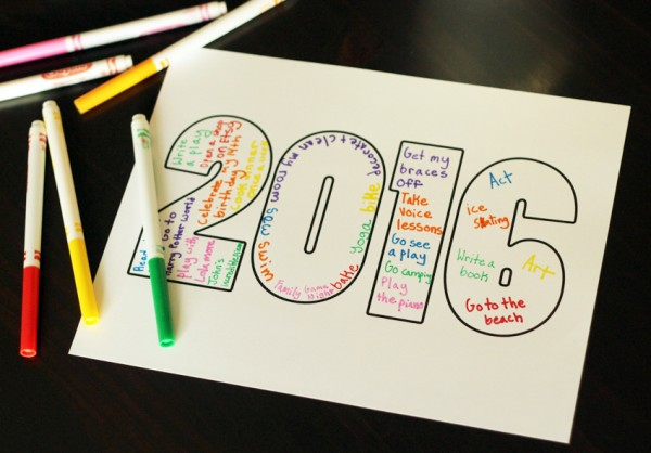 2016 printable writing activity for kids
