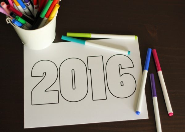 Printable 2016 coloring page