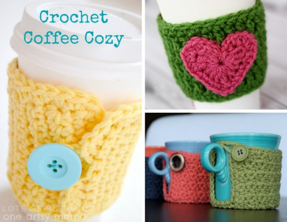 Crochet-A-Day: 3 Crochet Coffee Cozy Patterns | Make and Takes