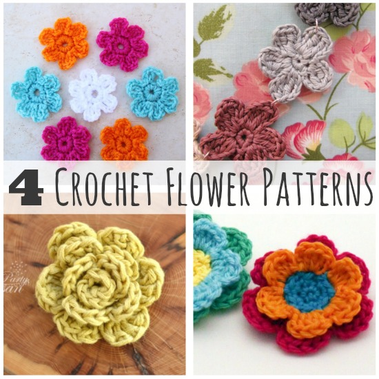 Make Crochet Flower Pattern : Crochet-A-Day: 4 Crochet Flower Patterns Make and Takes