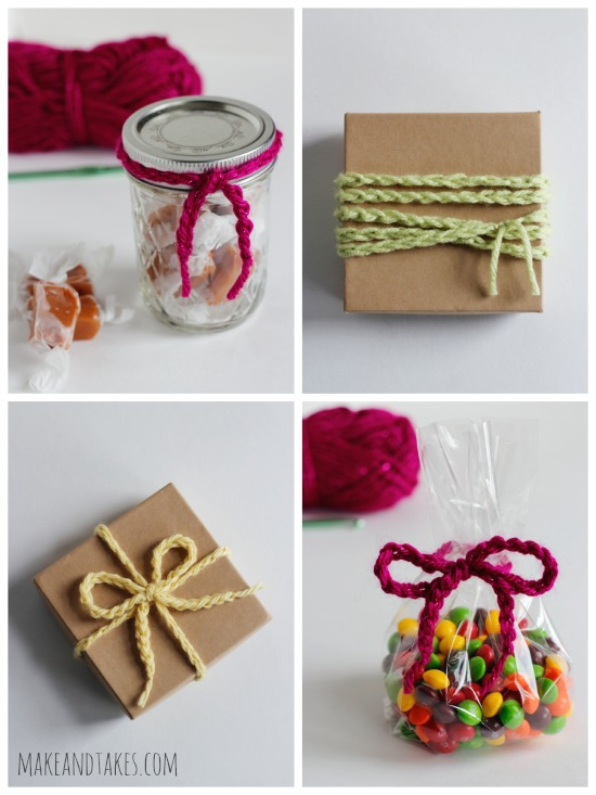 4 Ways to Wrap Chain Stitched Crochet Yarn for Gifts @makeandtakes.com #crochetaday #diy #giftideas
