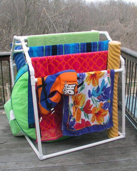 PVC Pool Towel Rack