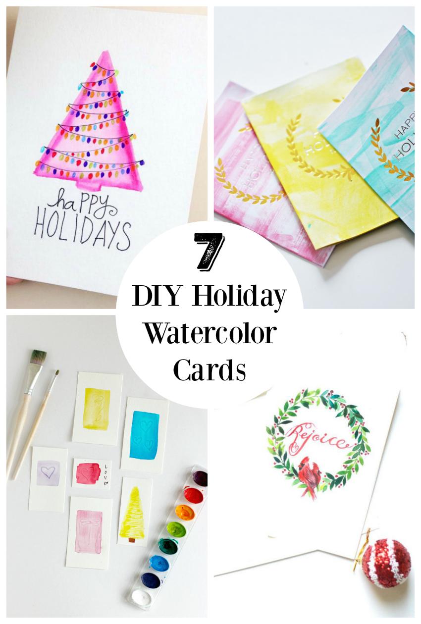 7 DIY Holiday watercolor cards to make