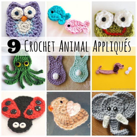 Crochet Patterns Animals Free : Crochet-A-Day: 9 Crochet Animal AppliquEs Make and Takes