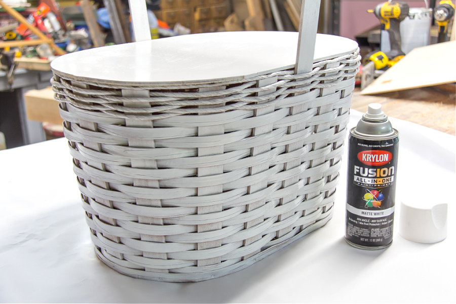 A basket spray painted white