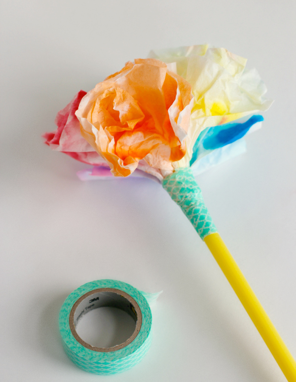 Add Washi Tape to Make Coffee Filter Flowers