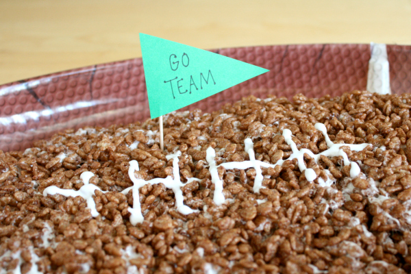 Add a Toothpick Flag to a Giant Rice Crispy Football for Game Day
