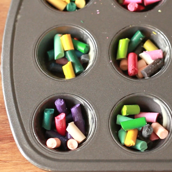 Adding Broken Crayons to a Muffin Tin
