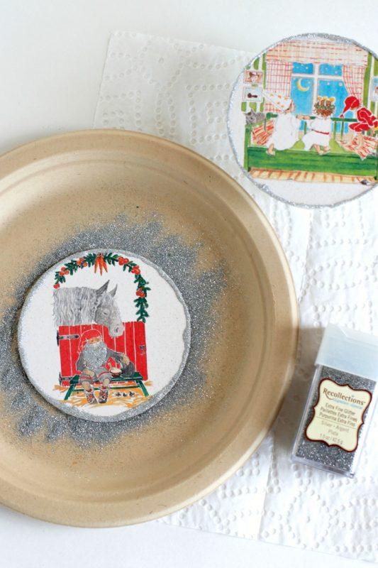 Adding Extra Fine Glitter to Coaster Ornaments