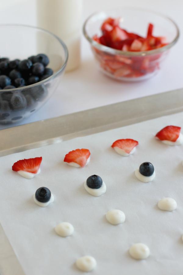 Adding Fruit to Yogurt Dots
