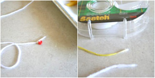 Adding Tape to Yarn Ends