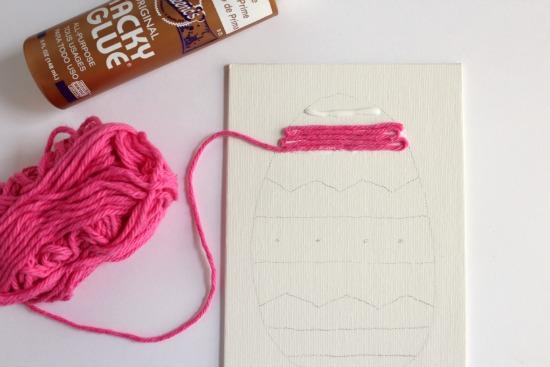 Adding Yarn to Easter Glue Art