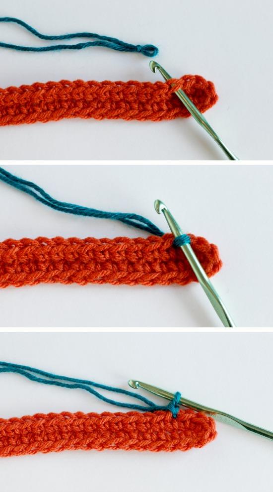 Adding a Second Color Yarn to a Crochet Bracelet