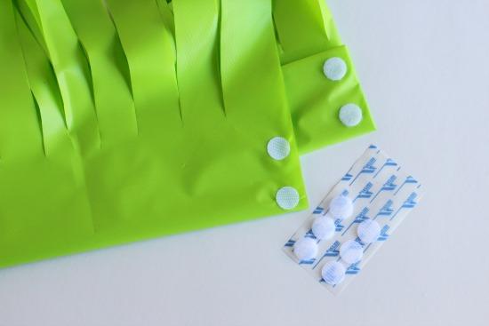 Adding velcro to plastic hula skirts