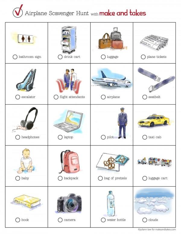 Airplane Scavenger Hunt Printable for Kids 2