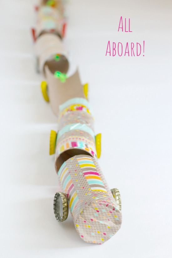 Recycled Paper Tube Washi Tape Train Kids Craft