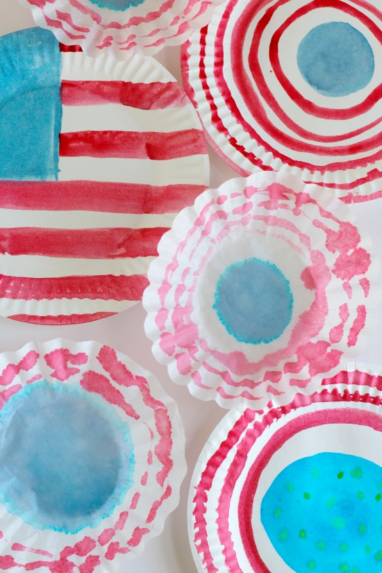 American Flag Watercoloring on Paper Plates