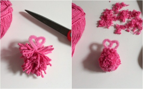 Angry Bird Pink Yarn Poms