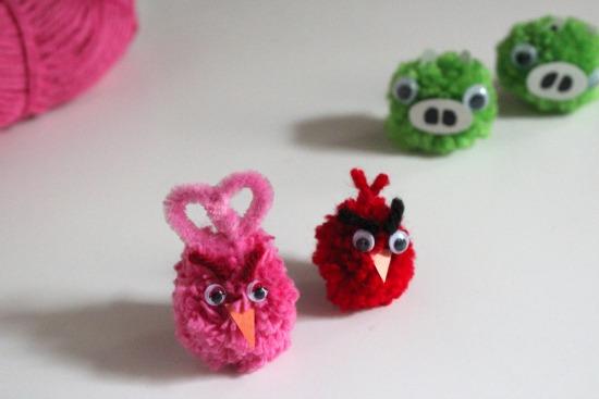 Angry Bird Pom Poms makeandtakes.com