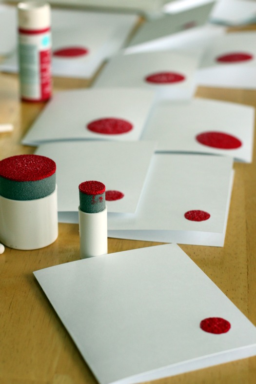 Apple Stamping with Circle Sponges