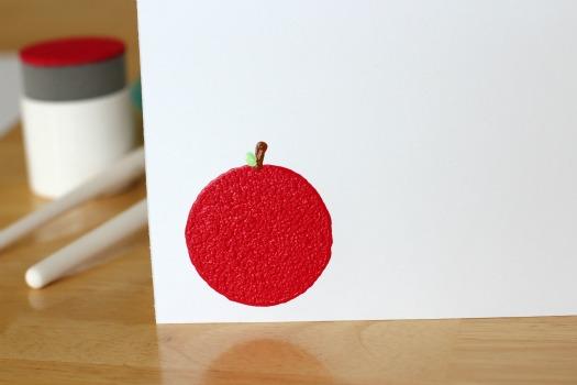 Apple sponge stamped card