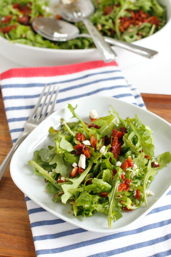 Bacon Vinaigrette on Arugula Salad