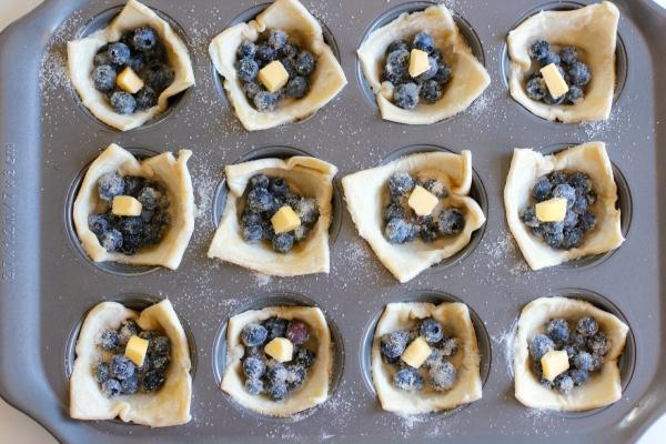 Baking Mini Blueberry Tarts in a Muffin Tin