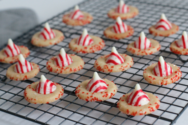 Baking up Candy Cane Cookie Buttons