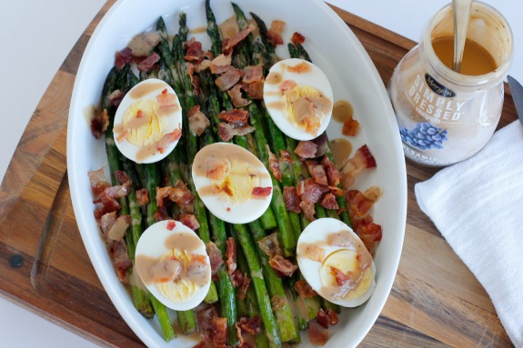 Balsamic Dressing Asparagus Bacon and Egg Side Dish