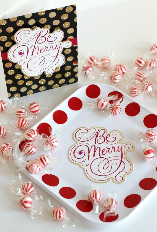 Be Merry Hallmark Card Treat Tray