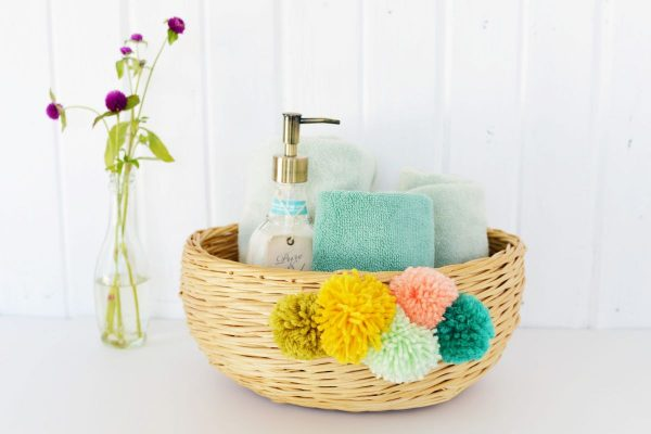 Beautiful Yarn Pom Pom Basket