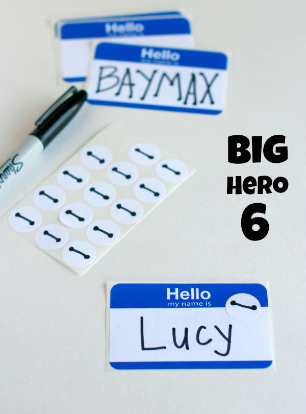 Big Hero 6 Party Baymax Name Tags