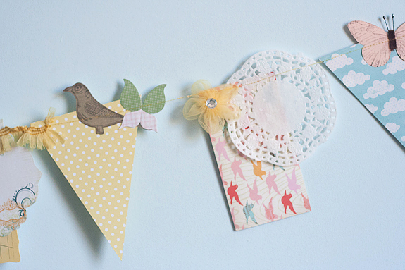Fabric and Paper Scraps Bits and Pieces Springtime Garland