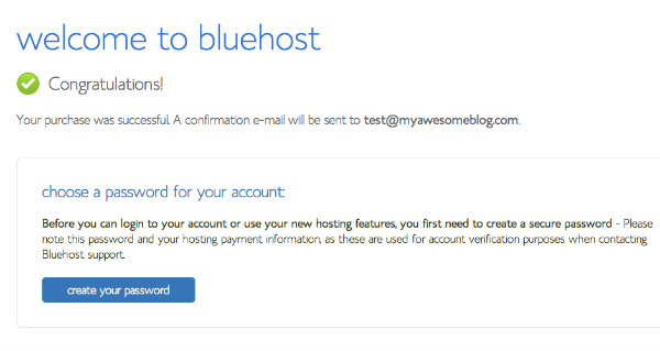 BlueHost Welcome Page for How to Start a Blog