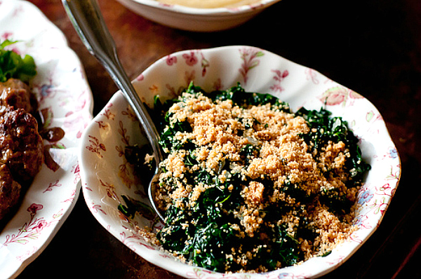 Braised Kale with Toasted Bread Crumbs