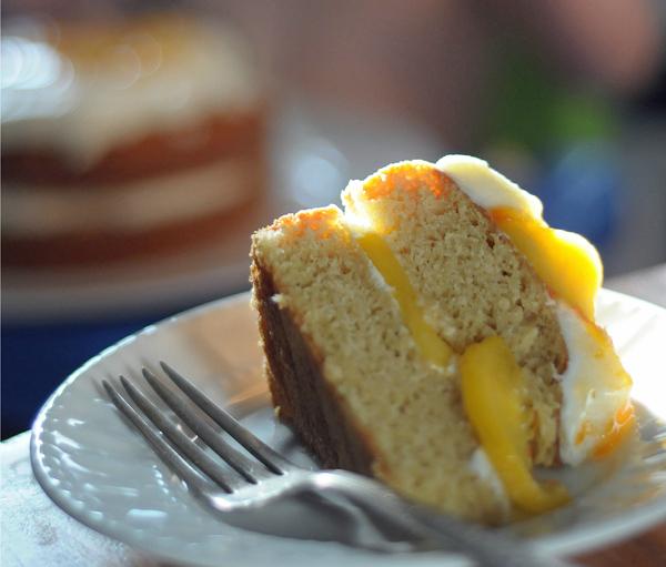 A slice of Brown Sugar Peach Cake