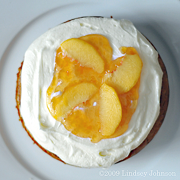 Brown Sugar Cake with Fresh Peaches