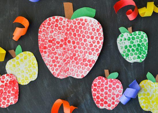 Bubble Wrap Painted Apples