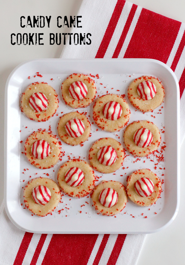 Candy Cane Kiss Cookie Buttons