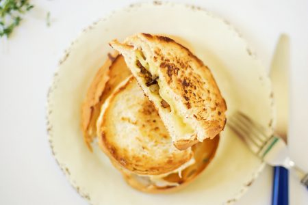 Caramelized Mushroom and Onion Grilled Cheese for Dinner